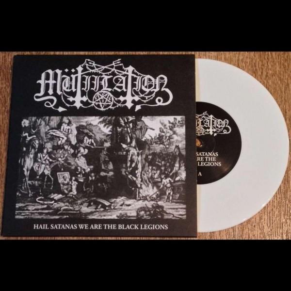 """Mütiilation - Hail Satanas We Are The Black Legions [white - 222], 7"""""""